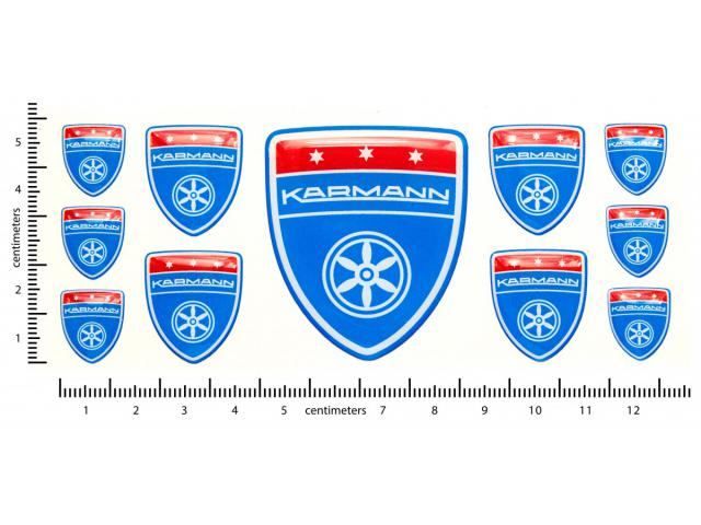 Karmann blue domed emblems